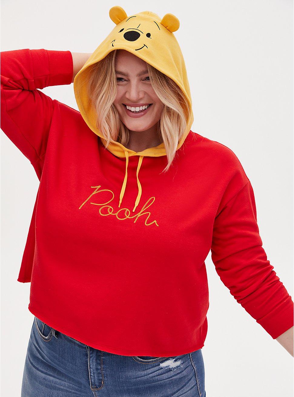 Disney Winnie The Pooh Red Fleece Crop Hoodie, RED, hi-res
