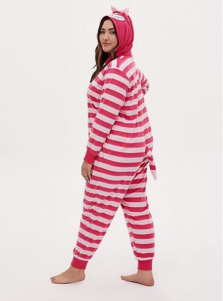 Disney Alice In Wonderland Cheshire Cat Stripe Fleece Onesie, MULTI, alternate