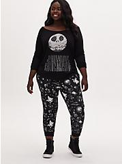 Disney The Nightmare Before Christmas Jack Skellington Terry Off Shoulder Active Sweatshirt, DEEP BLACK, alternate