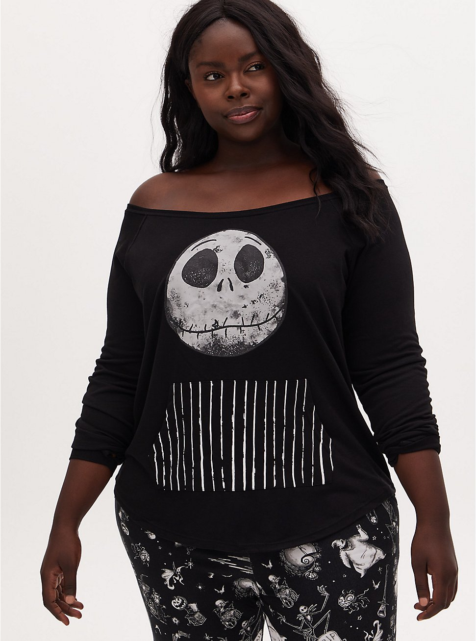 Disney The Nightmare Before Christmas Jack Skellington Terry Off Shoulder Active Sweatshirt, DEEP BLACK, hi-res