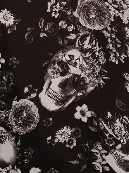 Skull Floral Chiffon Self Tie Long Robe, BOUQUET BLACK FLORAL, alternate