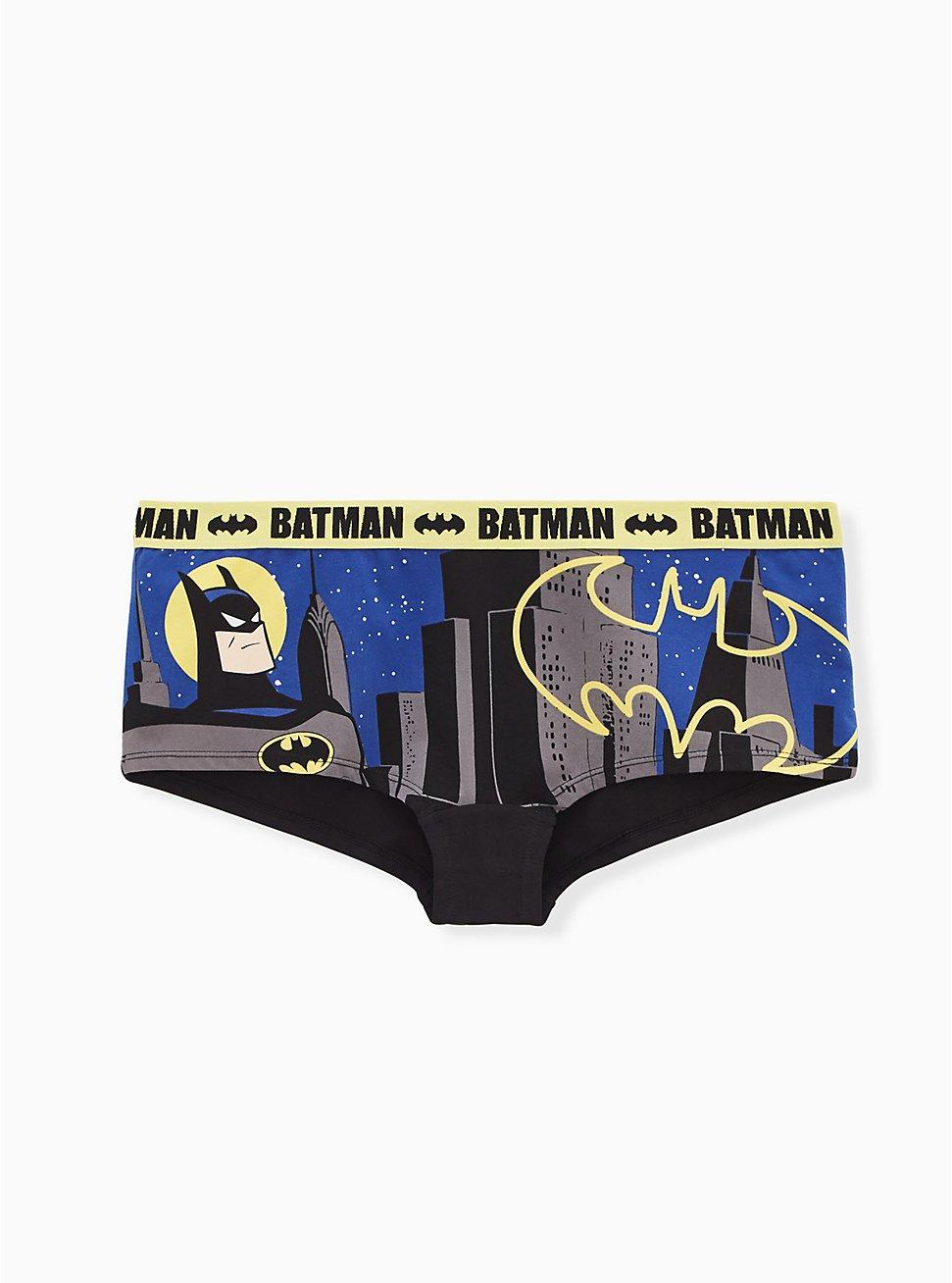 DC Comics Batman Blue & Yellow Cotton Boyshort Panty , MULTI, hi-res