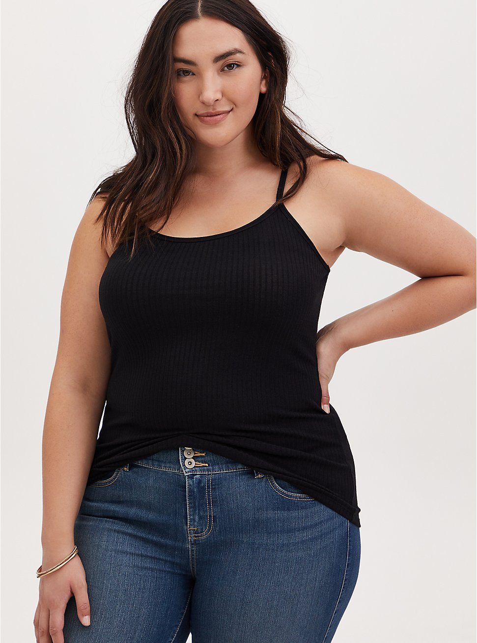 Black Rib Scoop Neck Cami, DEEP BLACK, hi-res