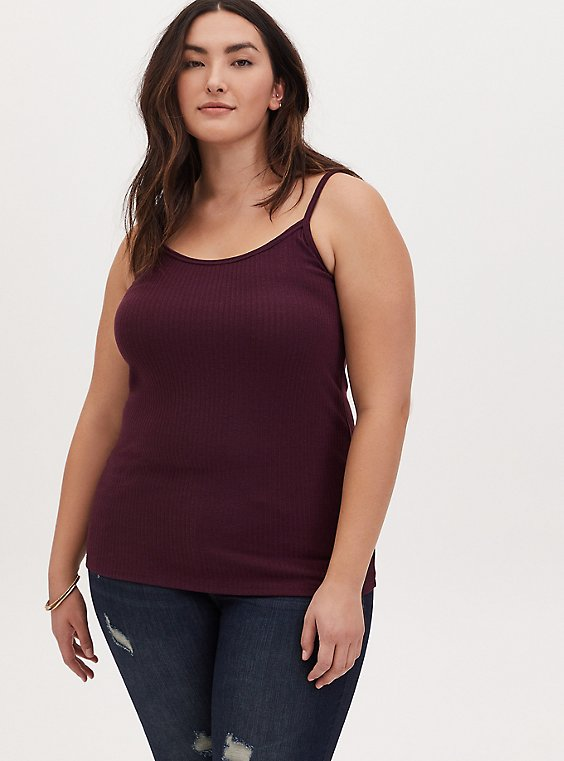 Burgundy Purple Rib Scoop Neck Cami, , hi-res