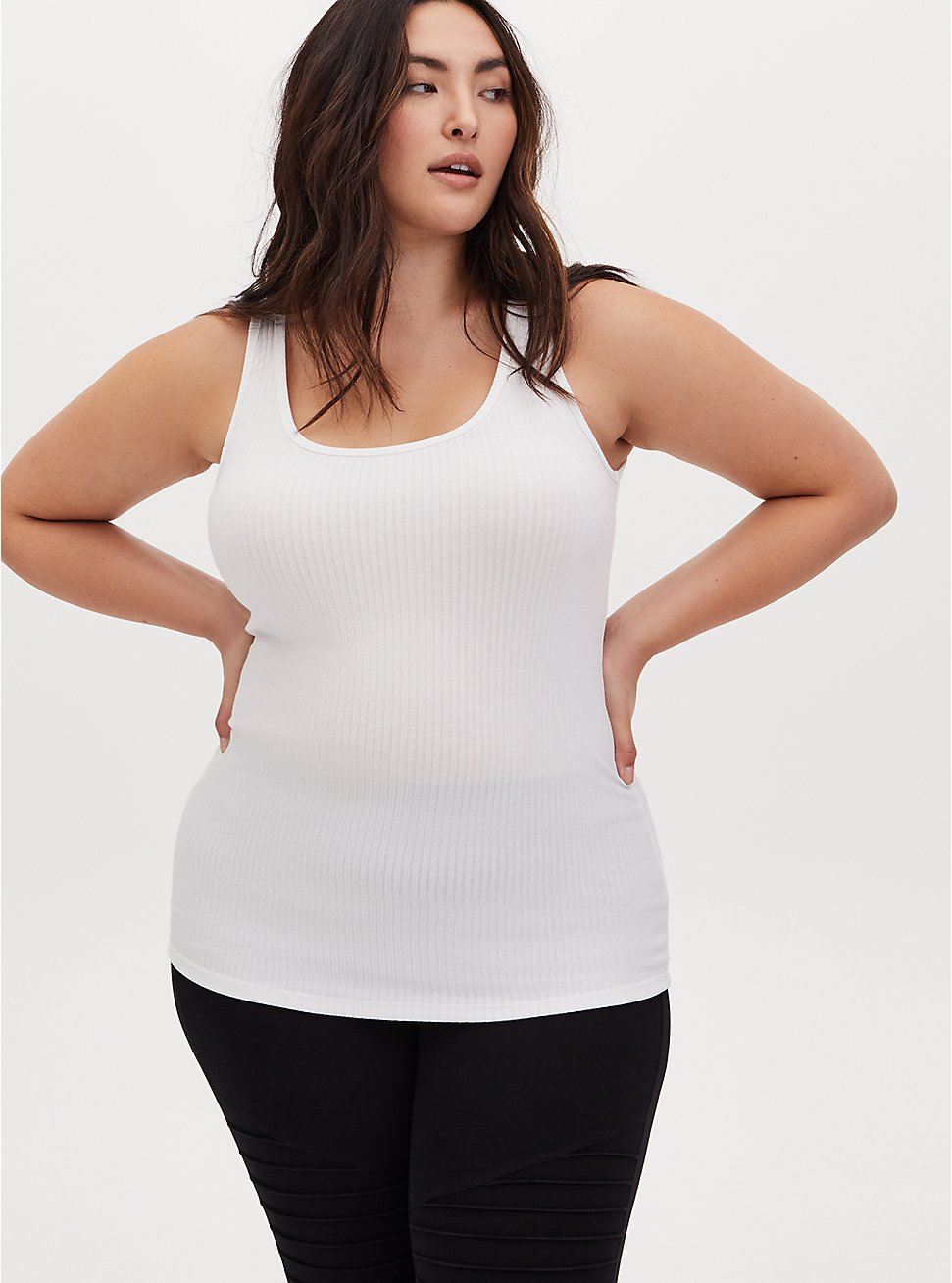 White Rib Tank, BRIGHT WHITE, hi-res