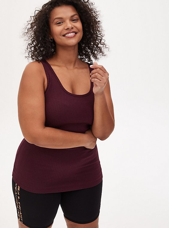 Burgundy Purple Rib Tank, , hi-res