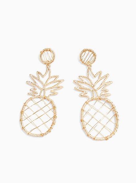 Gold-Tone Wrapped Oversized Pineapple Earrings, , alternate