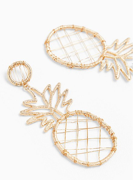 Gold-Tone Wrapped Oversized Pineapple Earrings, , hi-res