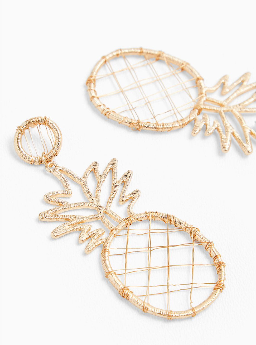 Plus Size Gold-Tone Wrapped Oversized Pineapple Earrings, , hi-res