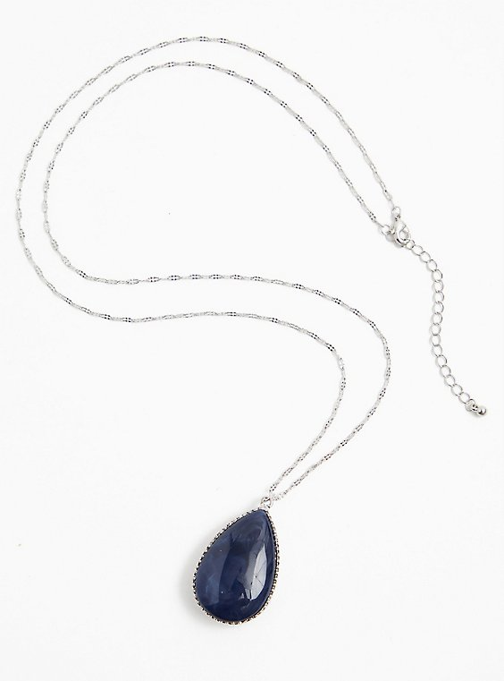 Silver-Tone Faux Navy & Opal Stone Reversible Pendant Necklace, , hi-res