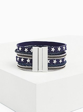 Navy & Silver-Tone Star Magnetic Bracelet, BLUE, alternate