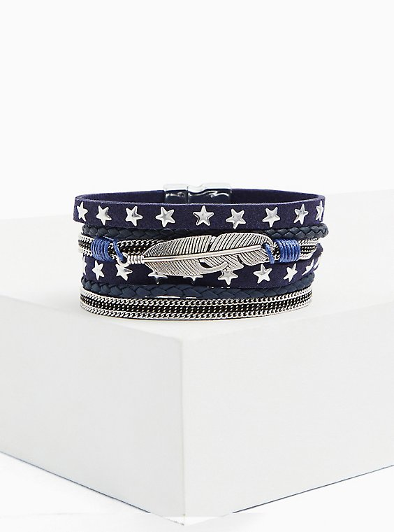 Plus Size Navy & Silver-Tone Star Magnetic Bracelet, , hi-res