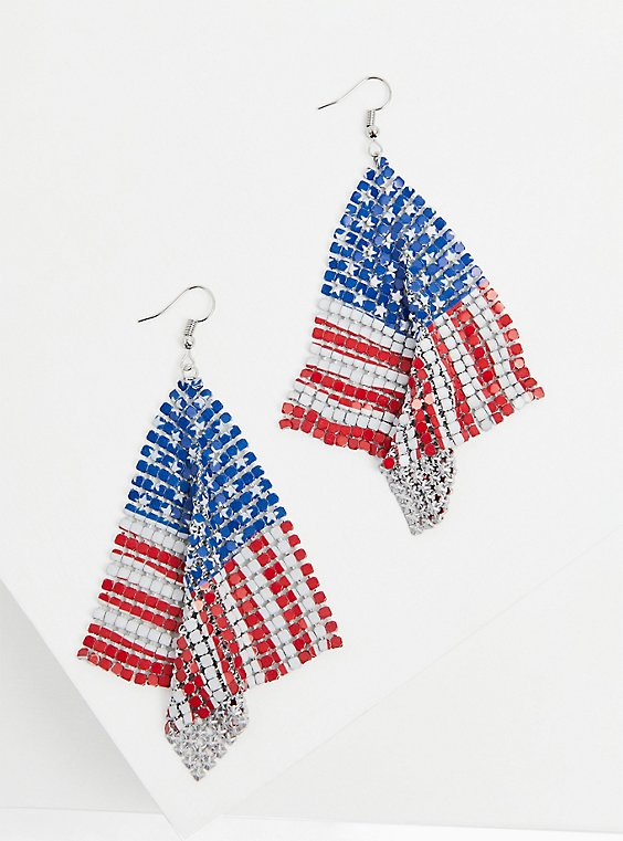 American Flag Statement Earrings , , hi-res