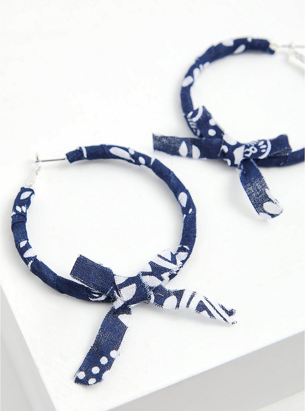 Navy Bandana Wrap Hoop Earrings, , hi-res