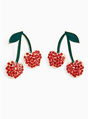 Red Cherry Rhinestone Earrings , , alternate