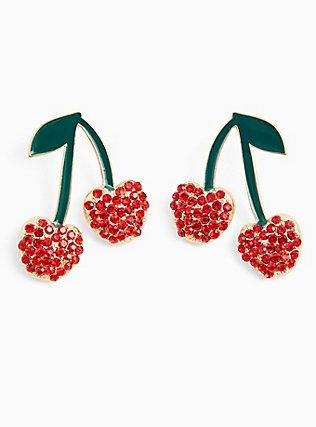Red Cherry Rhinestone Earrings , , alternate