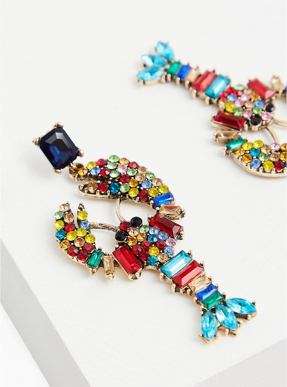 Multi Faux Stone Lobster Earrings , , hi-res