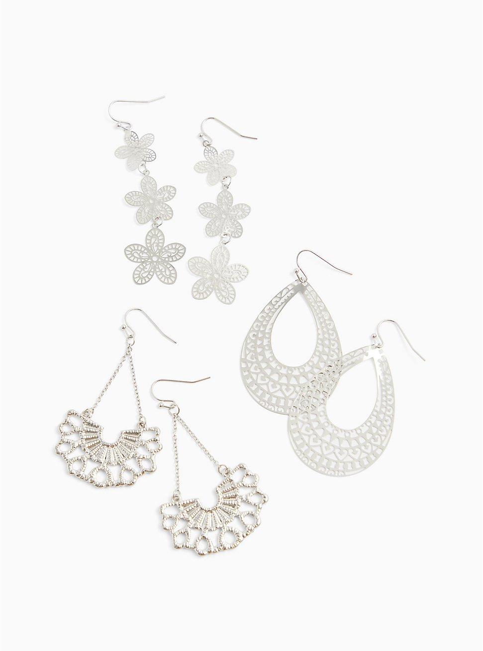 Plus Size Silver-Tone Floral Filigree Earrings Set - Set of 3, , hi-res