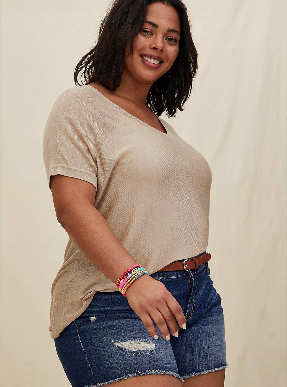 Plus Size Multi Bead & Coin Charm Stretch Bracelet Set - Set of 5, MULTI, hi-res