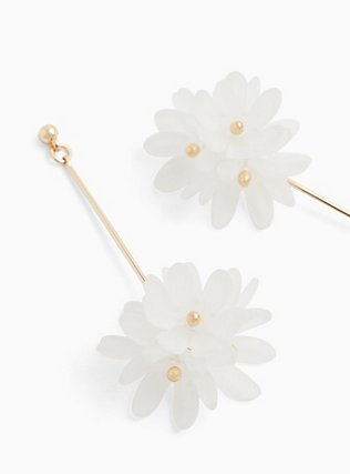 White Floral & Gold-Tone Drop Earrings , , hi-res
