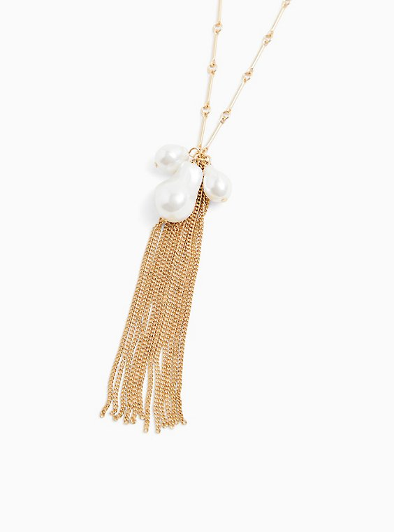 Gold-Tone Faux Pear Cluster & Fringe Pendant Necklace, , hi-res
