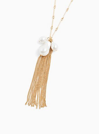 Gold-Tone Faux Pear Cluster & Fringe Pendant Necklace, , hi-res
