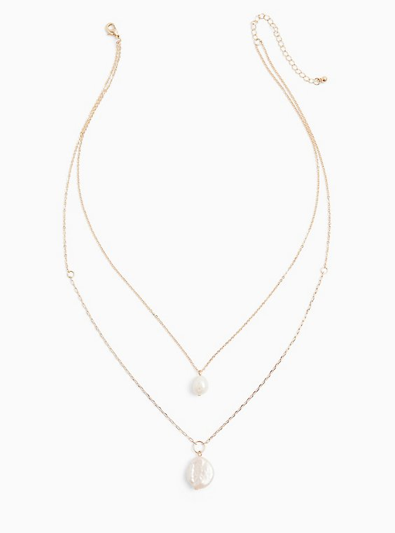 Gold-Tone Faux Pearl Layered Necklace , , hi-res