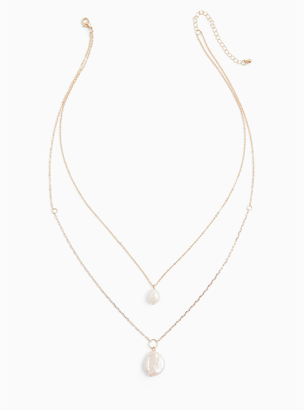 Plus Size Gold-Tone Faux Pearl Layered Necklace , , hi-res