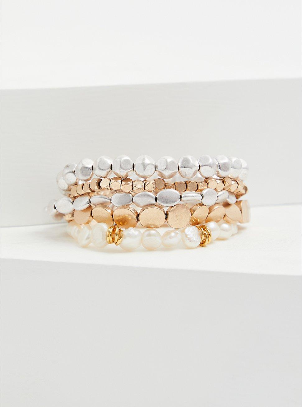 Ivory Faux Pearl Stretch Bracelet Set - Set of 5, GOLD, hi-res
