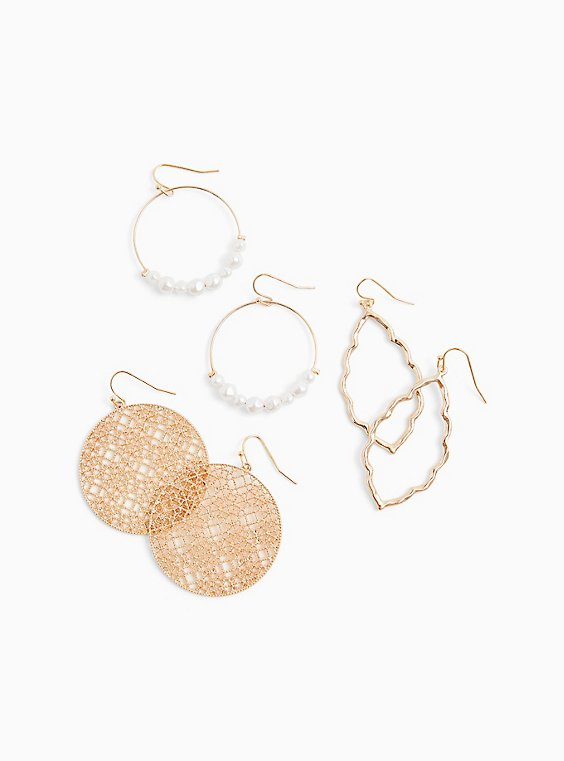 Gold-Tone Faux Pearl Hoop Earrings Set - Set of 3, , hi-res
