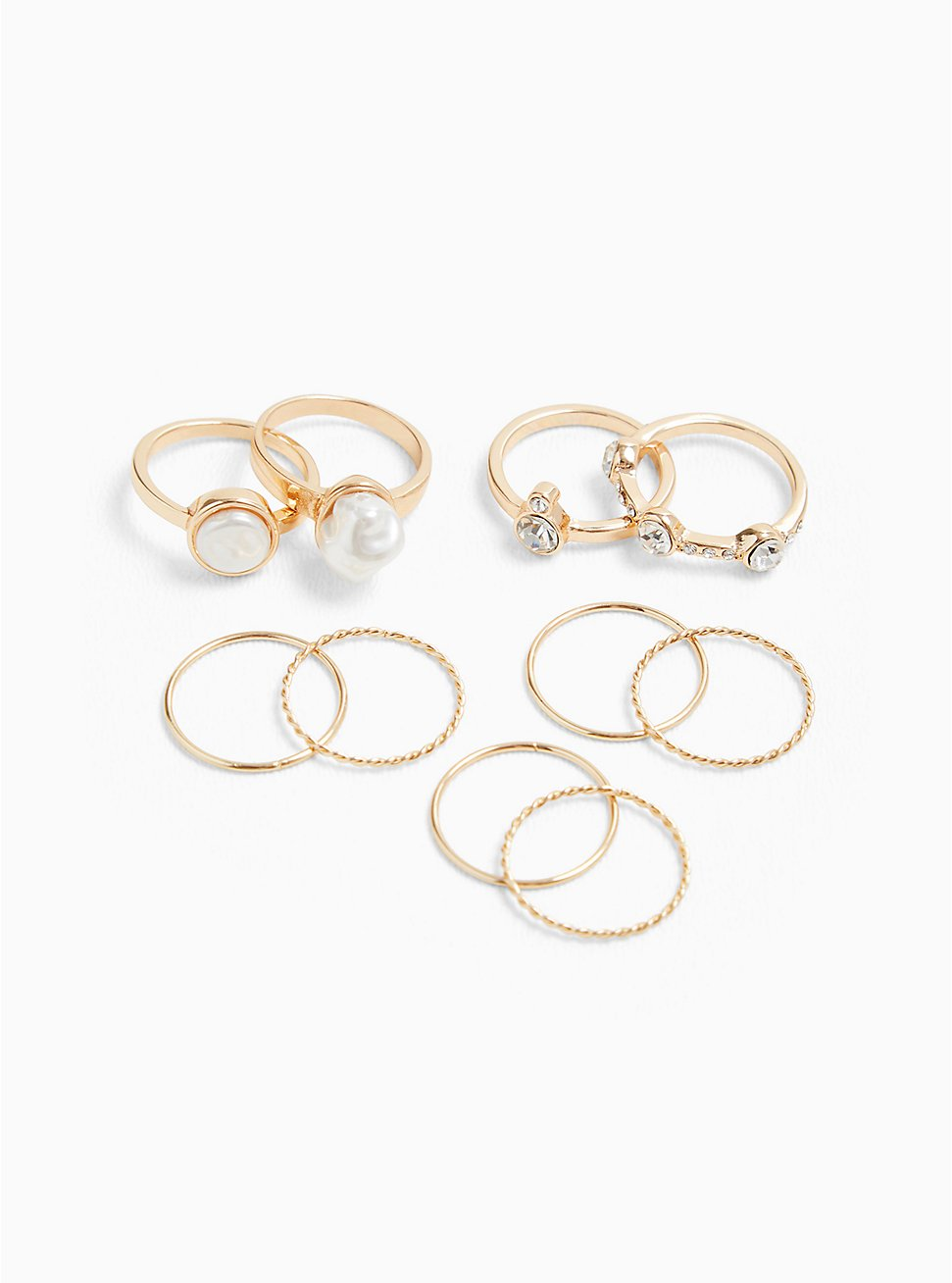 Gold-Tone Faux Pearl Ring Set - Set of 10, GOLD, hi-res