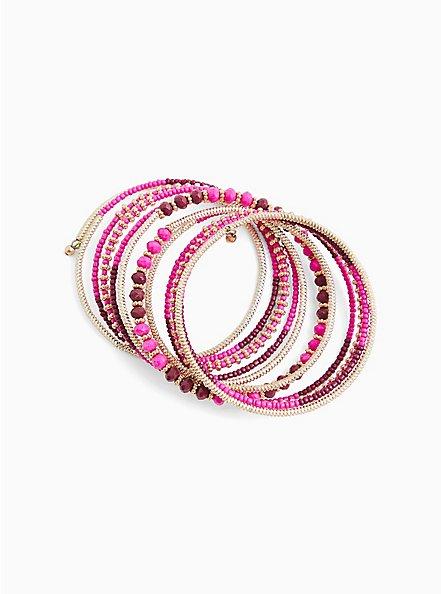 Hot Pink Beaded Stretch Coil Bracelet, PINK, alternate