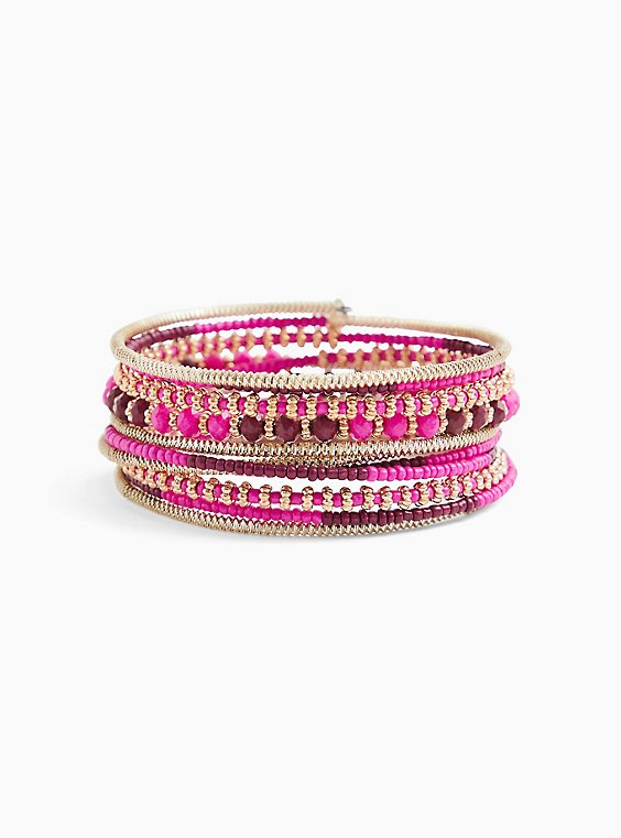 Plus Size Hot Pink Beaded Stretch Coil Bracelet, , hi-res