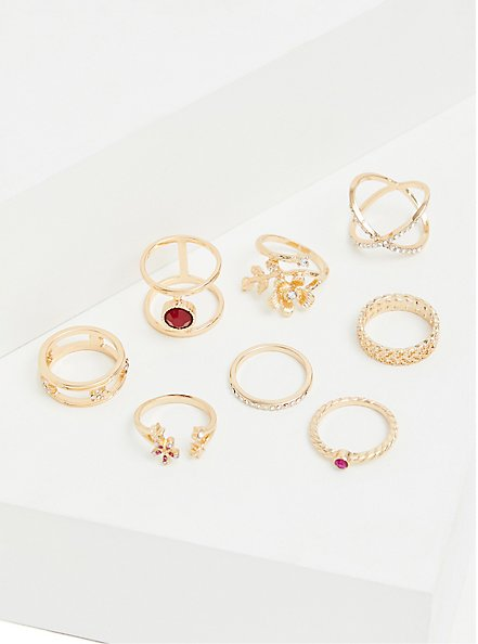 Gold-Tone & Faux Ruby Ring Set - Set of 8, , alternate