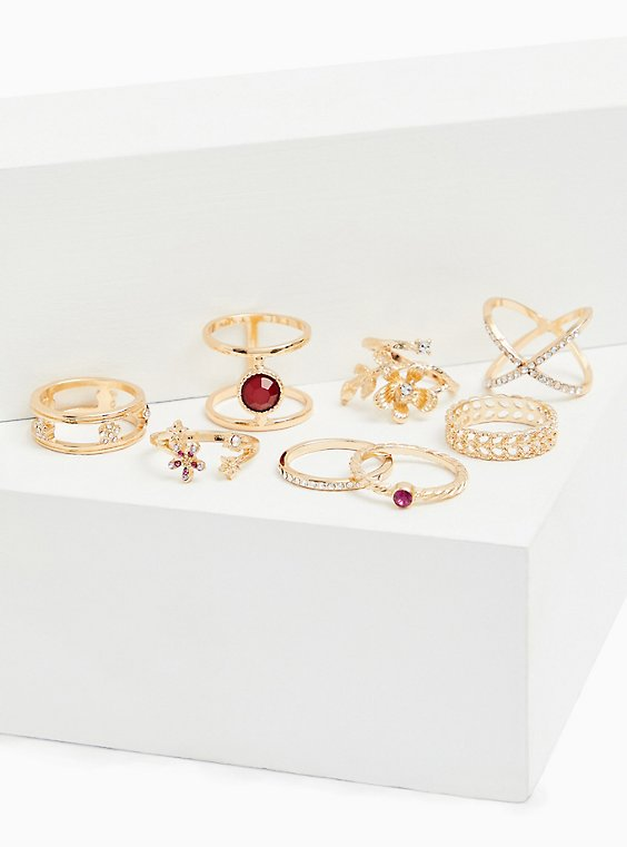 Gold-Tone & Faux Ruby Ring Set - Set of 8, , hi-res