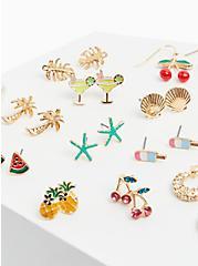 Fruit Stud & Huggie Hoop Earrings Set - Set of 15, , alternate