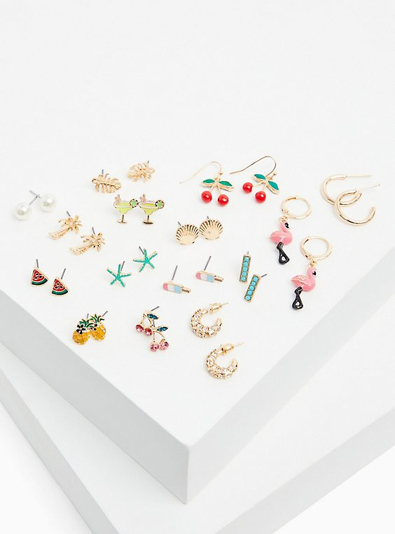 Fruit Stud & Huggie Earrings Set - Set of 15, , hi-res