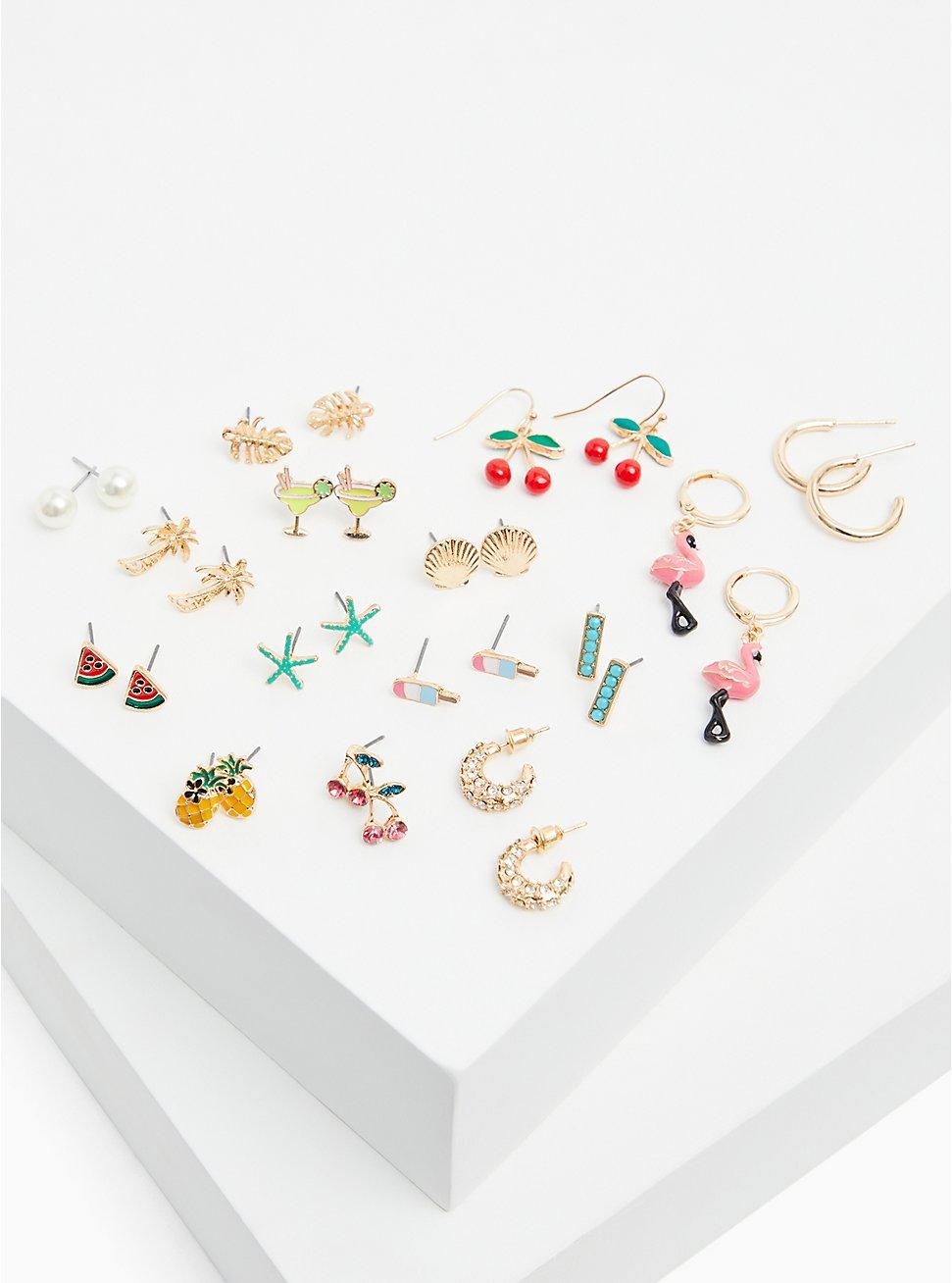 Fruit Stud & Huggie Hoop Earrings Set - Set of 15, , hi-res