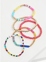 Multi Disk Bead Stretch Bracelet Set - Set of 5, MULTI, alternate