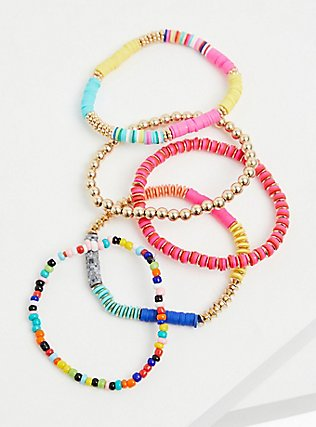 Multi Disk Bead Stretch Bracelet Set - Set of 5, MULTI, alternate