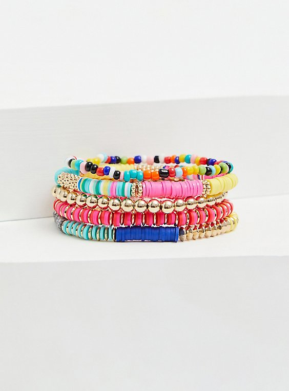 Plus Size Multi Disk Bead Stretch Bracelet Set - Set of 5, , hi-res