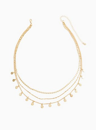 Gold-Tone Multi Coin Layered Necklace, , alternate