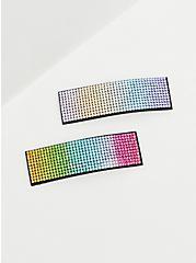 Rainbow Rhinestone Hair Clip Pack - Pack of 2, , alternate