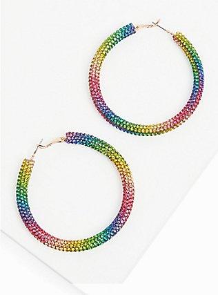Rainbow Rhinestone Hoop Earrings, , alternate