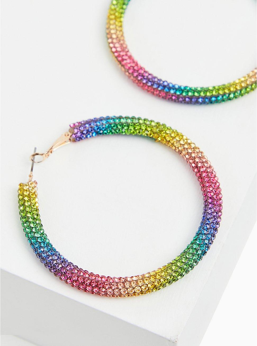 Plus Size Rainbow Rhinestone Hoop Earrings, , hi-res