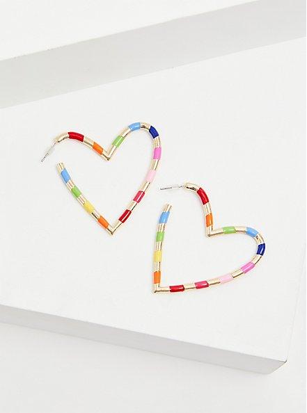 Gold-Tone & Rainbow Enamel Heart Hoop Earrings , , alternate