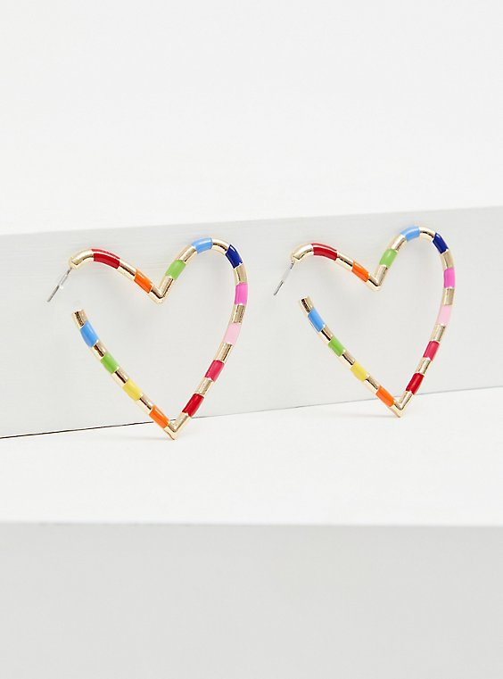 Gold-Tone & Rainbow Enamel Heart Hoop Earrings , , hi-res