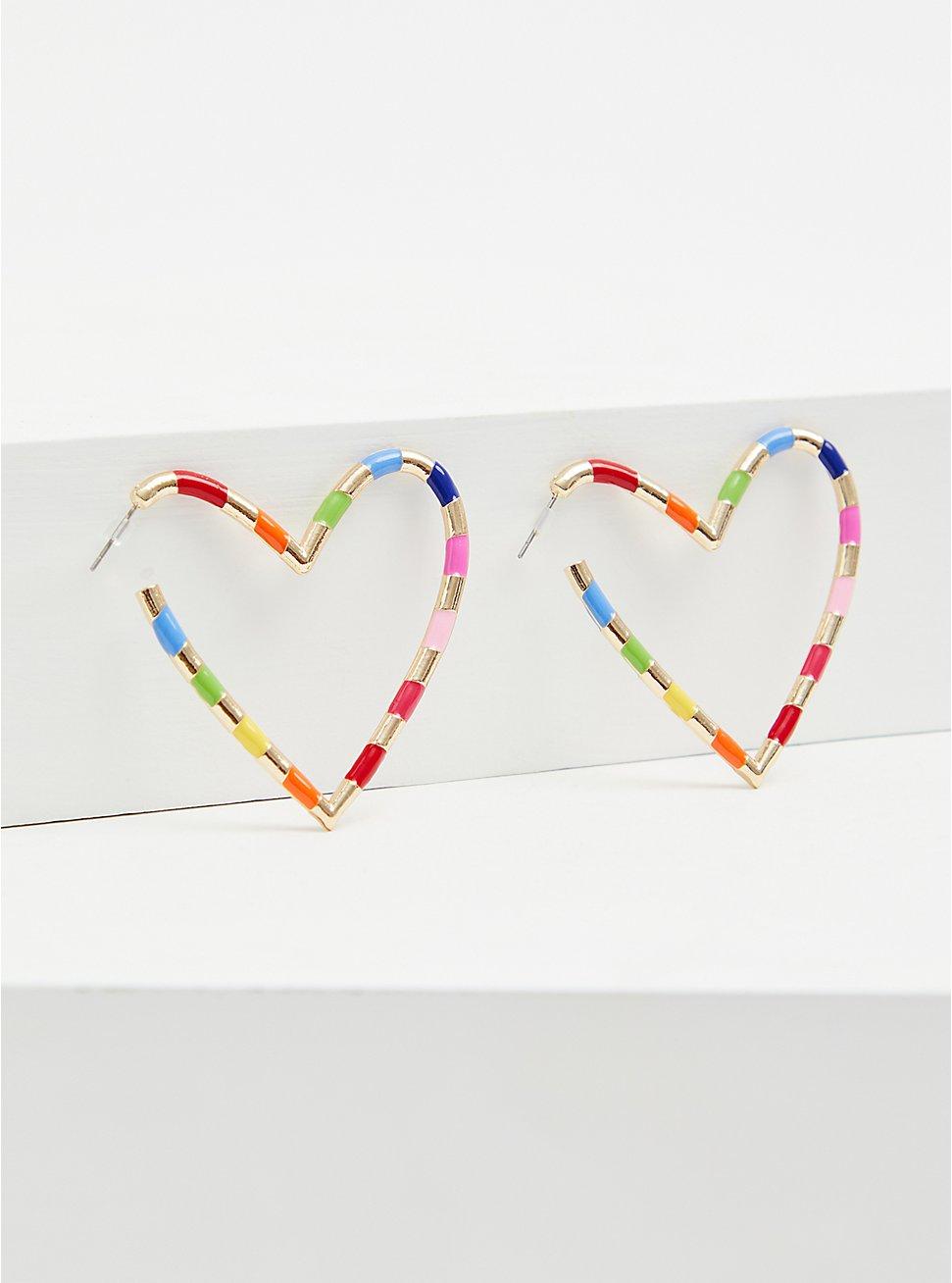 Gold-Tone & Rainbow Enamel Heart Hoop Earrings , , hi-res