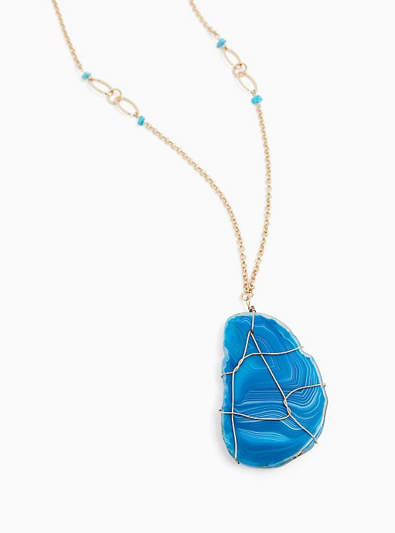 Teal Blue Wire Pendant Necklace , , hi-res