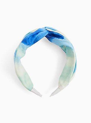Plus Size Blue Watercolor Twist Top Headband , , alternate